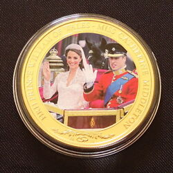 2011 Cook Islands 1 Coin William Catherine Royal Wedding Gold Plated Coa G