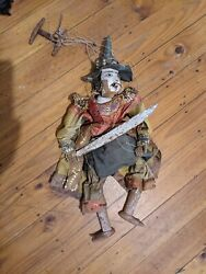 Antique 1900's Burmese Warrior Wooden Marionette String Hand Puppet Asia History