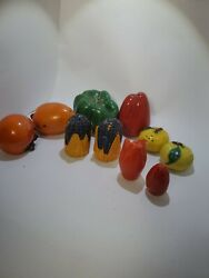 Lot Of 5 Vegetable And Fruitthemed Vintage Salt And Pepper Shakers