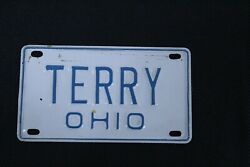 Cereal Box Insert Aluminum License Plate Terry Ohio Vintage