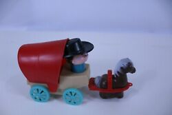 Toy Wagon Vintage Collectible Wind Up Toy Plastic Covered Horse And Driver