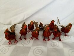 Vintage Real Feather Pheasant Christmas Ornaments 9 Birds Wires Partridge