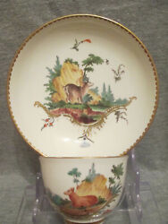 Frankenthal Porcelainandnbspgoat Scene Cup And Saucer 1700and039s Carl Theodor