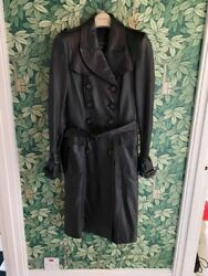 Double-breasted Womanandrsquos Leather Black Trench Coat - Size 38