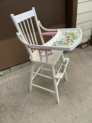 Lovely Floral Painted Vintage Baby Girl Wooden Feeding High Chair Swing Up Tray