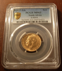 South Africa 1927 Sa Gold Sovereign Pcgs Ms63 George V