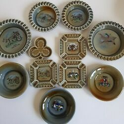 11 Pieces Of Wade Irish Porcelain Ash Trays Pin Dishes Trinket Dish Etc. A8