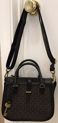 NWOT Fossil Ryder Signature Fabric Leather Sm Black Satchel Sho XBody Handbag $74.95