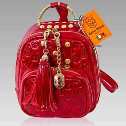 Marino Orlandi Designer Backpack Bucket Purse Red Quilted Leather Sling Bucket $650.00