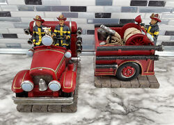 Vtg 1998 Vanmark Red Hats Of Courage Fireman Fire Truck Bookends Firemen Rescue