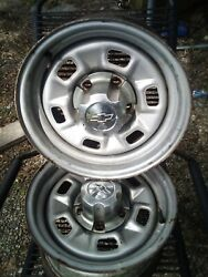 2 1970's Chevy 8x15 6 Slot Rally Wheels With Pn 352933 Center Caps
