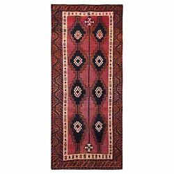 4and0399x10and0395 Hand Knotted Red Farsian Qashqairaz Worn Vintage Runner Rug R57864