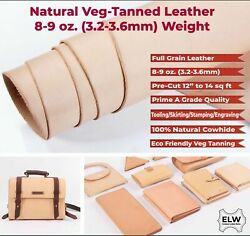 Elw Vegetable Tanned Leather 8-9 Oz 3.2-3.6mm Thickness Pre-cut Cowhide...