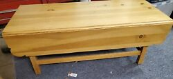 Ethan Allen Wood Coffee Table Country Craftsman Drop Leaf Solid Pine