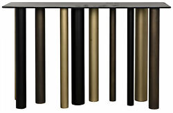 48 W Johnson Console Table Modern Black Metal Two Tone Brass Cylindrical Legs