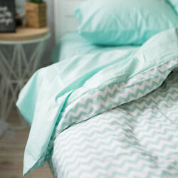 Natural Cotton Double-sided Duvet Cover In Mint And Strips Twin Full Queen King