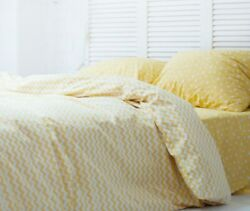 Natural Cotton Double-sided Duvet Cover In Yellow Zig-zag Twin Full Queen King