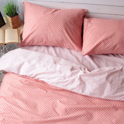 Natural Cotton Double-sided Duvet Cover In Orange Twin Full Queen King