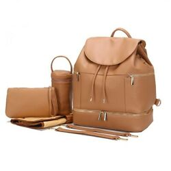 Large PU Leather Mommy Baby Diaper Bag Backpack Maternity Nappy Chaning Pad $29.99