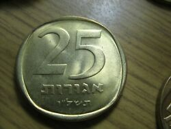 Israel 25 Agorot Agora Coin. Only 1 Coin Unc-aunc Randomal From Bag.