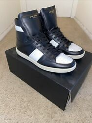Saint Laurent Ysl Mens High Top Black/white Sneakers Size 42 Eu