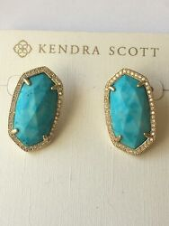 Kendra Scott Elsie Luxe Turquoise Post Statement Earrings Rare Vintage Pave