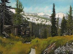 Robert West Trapper's Cabin At Yankee Fork 8 Mile Original Oil Painting 18x24