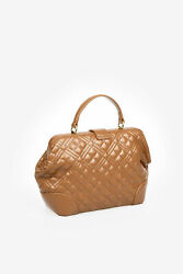 MOSCHINO women Handbags LOVE Quilted NEW SHINY Bag Brown $202.88