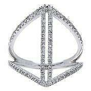 Modern Pave Diamond 18kt White Gold Parallel Bar Triangle Cocktail Ring R053565