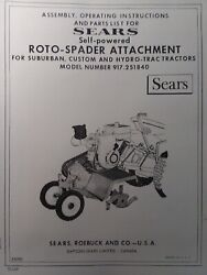 Sears Tractor 3-point Tiller Implement Owner, Parts, Link Kit 5 Manual S 7 8hp