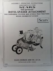 Sears Tractor Tiller Implement And Engine Owner, Parts, Link Kit 4 Manual S 7 Hp