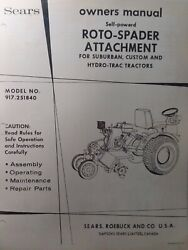 Sears Tractor Tiller Implement And Engine Owner, Parts, Link Kit 4 Manual S 1971
