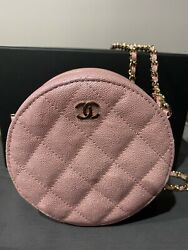 Iridescent Metallic Pink Caviar Quilted Mini Round Clutch Bag With Chain