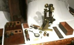 Antique 1800's T.h. Mcallister Brass Lab Microscope W/ Box And Lens Capsule Parts