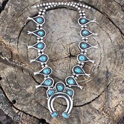Vintage Navajo 1960's Kingman Turquoise And Sterling Squash Blossom Necklace