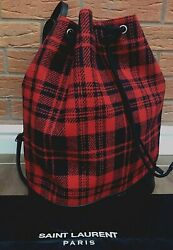 Saint Laurent Backpack Wool And Leather Made In Italy Bnwt....rare