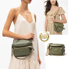 Michael Kors Slater Sling Pack Leather Messenger in Army Green and Goldtone NWT $247.99