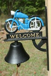 Motorcycle Decor Christmas Gift Welcome Bell Ringer 13 Cast Iron H-139