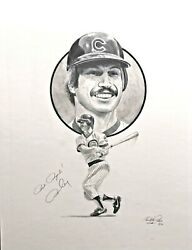 Original Autographed Graphite Pencil Drawing Of Ron Cey By Christopher Paluso