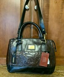 NWD Tignanello Classic Beauty Embossed Vintage Leather Brown Black SATCHEL Purse $15.00