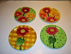 Set Of 4 Becca Signature Collection Home Etc Flower Salad Plates Daisies