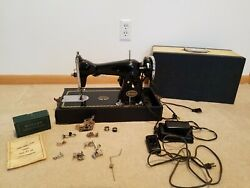 Antique Precision De Luxe Sewing Machine With Case And Attachments Free Shipping