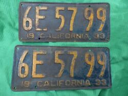 1933 California Yom License Plates Set Street Rod Hot Dodge Plymouth Chevy Ford
