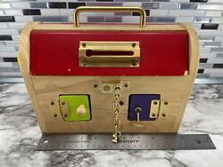 Large Wooden Sensory Lock Box 8 Colored Doors Different Types Of Locks Lunchbox