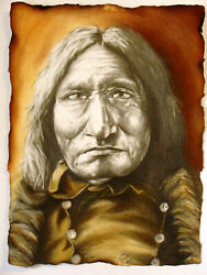 Custom Charcoal Pastel And Pencil American Sioux Indian 18x24 Portrait