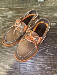 Boys Sperrys Sperry Top-sider Boat Shoes Brown Leather Orange Size 13