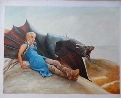 Game Of Thrones Daenerys Dragon Art Oil On Canvas Painting Huge 30x40