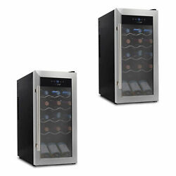 Nutrichef Digital Electric 18 Bottle Thermoelectric Wine Cooler Black 2 Pack