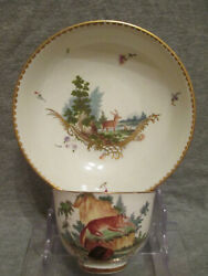 Frankenthal Porcelainandnbspdeer And Fox Scene Cup And Saucer 1700and039s Carl Theodor 1 Of 2