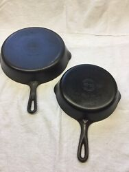 Lot Of 2 Griswold Cast Iron 69 Skillet Small Logo 699710 Refurbished